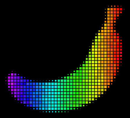 Dot impressive halftone banana icon using rainbow color tinges with horizontal gradient on a black background. Color vector concept of banana symbol combined with rectangle cells. Illustration