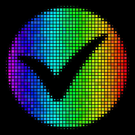 Dot bright halftone apply icon drawn with rainbow color hues with horizontal gradient on a black background. Bright vector concept of apply illustration organized of square dots.