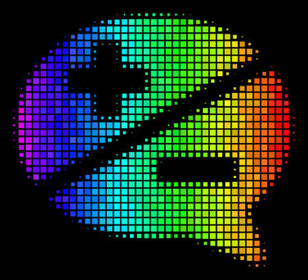 Pixelated colorful halftone arguments icon using spectral color hues with horizontal gradient on a black background. Bright vector concept of arguments illustration combined with rectangular cells.