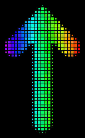 Dotted impressive halftone arrow direction icon in rainbow color variations with horizontal gradient on a black background.