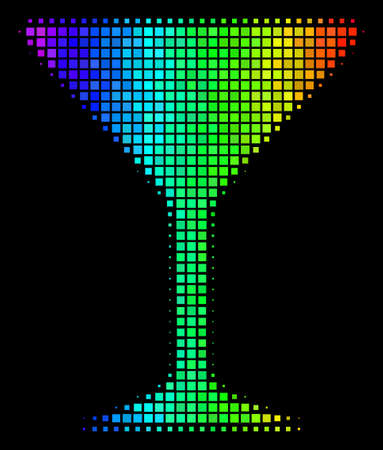 Pixelated bright halftone alcohol glass icon drawn with rainbow color shades with horizontal gradient on a black background. Illustration