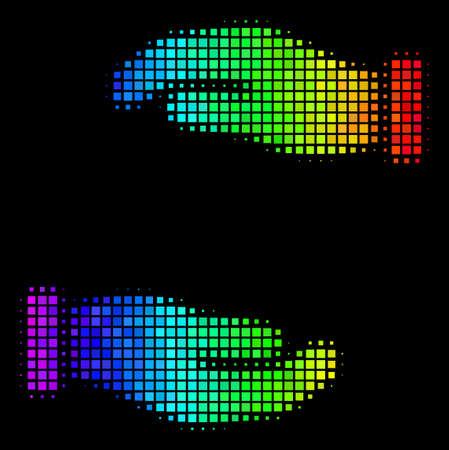 Pixel impressive halftone care hands icon using spectrum color tinges with horizontal gradient on a black background. Color vector composition of care hands illustration shaped with rectangle items. Ilustração