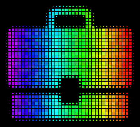 Dot colorful halftone case icon using spectral color tints with horizontal gradient on a black background. Color vector mosaic of case symbol organized of rectangle matrix cells.