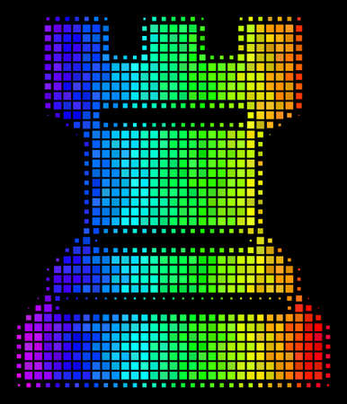 Dotted colorful halftone chess tower icon drawn with spectral color tinges with horizontal gradient on a black background. Illustration