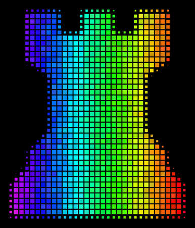 Dot bright halftone chess tower icon drawn with rainbow color tinges with horizontal gradient on a black background.