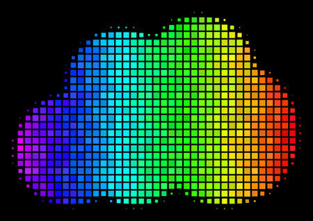 Pixelated colorful halftone cloud icon in rainbow color tones with horizontal gradient on a black background. Color vector mosaic of cloud symbol shaped from square matrix cells.