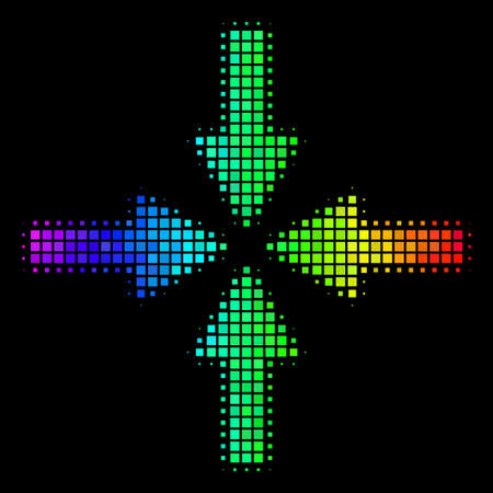 Pixelated colorful halftone collide arrows icon drawn with spectral color tints with horizontal gradient on a black background.
