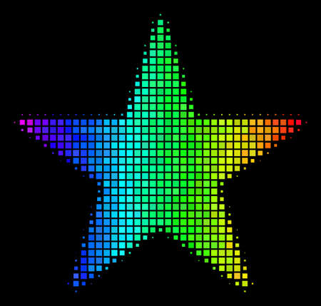 Dotted bright halftone confetti star icon using spectrum color tinges with horizontal gradient on a black background. Illustration