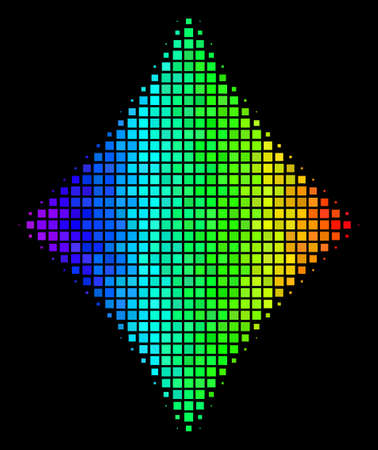 Pixelated colorful halftone diamonds suit icon using rainbow color tones with horizontal gradient on a black background.