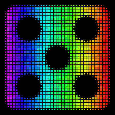 Dot bright halftone dice icon using spectrum color variations with horizontal gradient on a black background. Bright vector collage of dice illustration constructed from square cells.