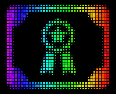 Dot impressive halftone diploma icon in rainbow color tones with horizontal gradient on a black background. Colorful vector composition of diploma illustration organized from rectangle pixels.