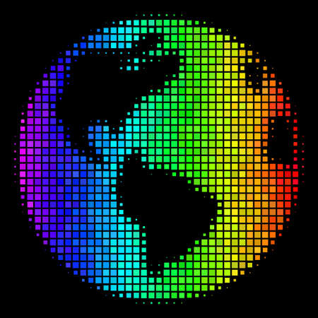 Pixelated impressive halftone Earth icon drawn with spectrum color tints with horizontal gradient on a black background.