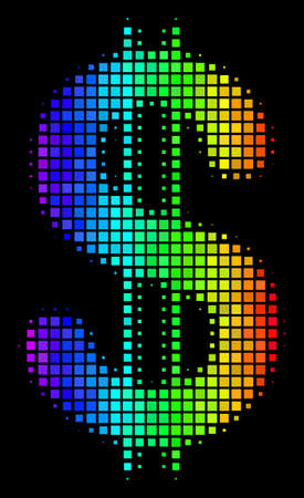 Dot colorful halftone dollar icon in spectrum color tinges with horizontal gradient on a black background. Multicolored vector pattern of dollar symbol done of rectangular cells. Illustration