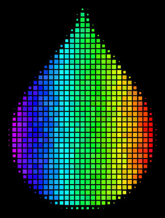 Dotted bright halftone drop icon drawn with spectral color hues with horizontal gradient on a black background. Bright vector composition of drop symbol combined with square cells.