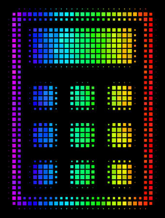 Pixel impressive halftone calculator icon in spectral color hues with horizontal gradient on a black background. Colorful vector collage of calculator symbol constructed with square dots.