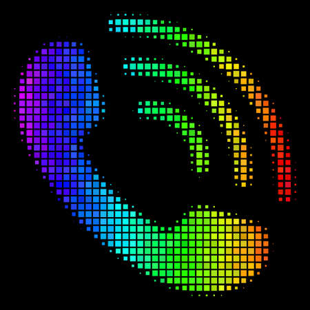 Pixelated impressive halftone call ring icon drawn with spectral color hues with horizontal gradient on a black background.