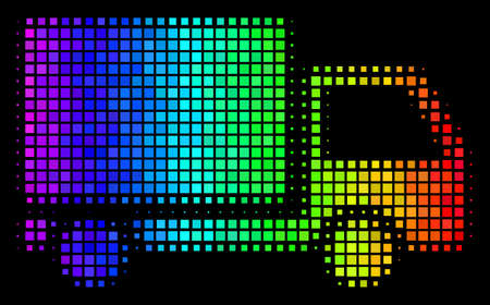 Pixelated bright halftone delivery lorry icon using rainbow color tinges with horizontal gradient on a black background.