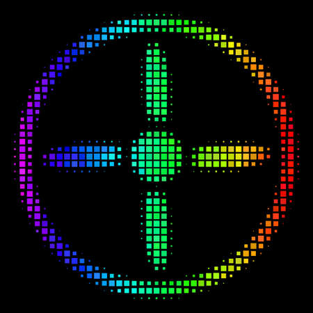 Pixelated impressive halftone drone screw icon using spectral color hues with horizontal gradient on a black background. Colorful vector collage of drone screw symbol designed of square particles.