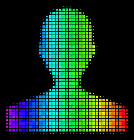 Pixel impressive halftone customer icon using spectral color variations with horizontal gradient on a black background. Color vector mosaic of customer illustration created from rectangular cells.