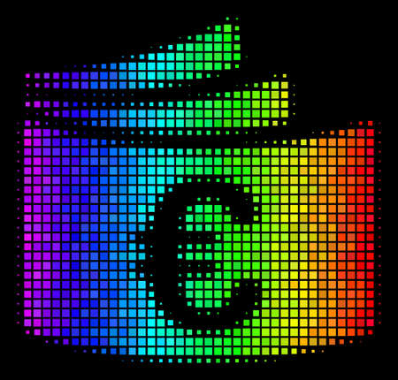 Pixelated impressive halftone Euro checkbook icon in rainbow color hues with horizontal gradient on a black background.