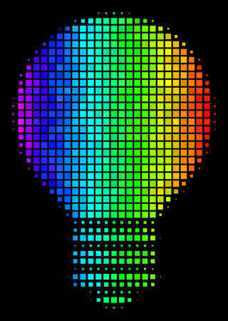 Pixelated impressive halftone electric bulb icon drawn with rainbow color shades with horizontal gradient on a black background.  イラスト・ベクター素材