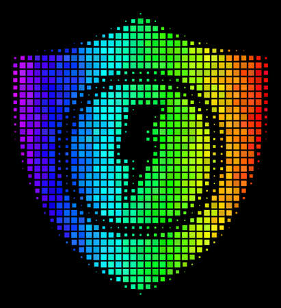 Dot impressive halftone electric guard icon drawn with spectral color hues with horizontal gradient on a black background. Colored vector mosaic of electric guard symbol composed with square pixels.