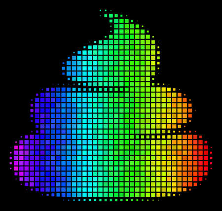Pixel impressive halftone shit icon in rainbow color tinges with horizontal gradient on a black background. Bright vector pattern of crap pictogram combined with rectangle items.