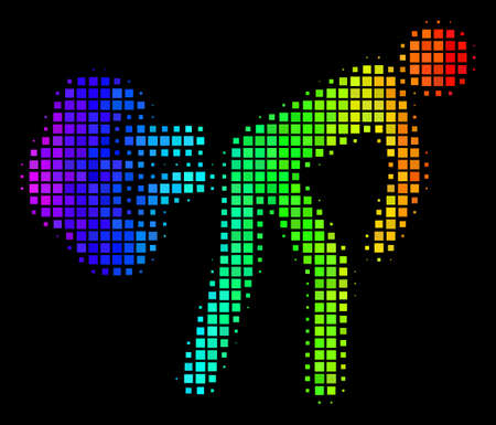 Dotted colorful halftone fart gases icon in spectral color tones with horizontal gradient on a black background. Colored vector concept of fart gases illustration combined from square matrix cells.