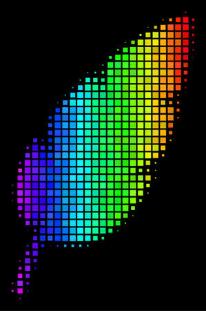 Pixel colorful halftone feather icon drawn with rainbow color tinges with horizontal gradient on a black background. Color vector concept of feather illustration organized with rectangular elements. Illustration
