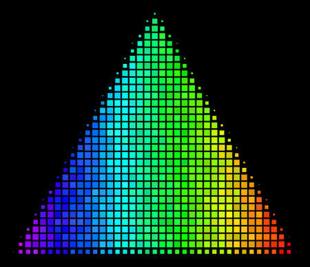 Pixel impressive halftone filled triangle icon using rainbow color tones with horizontal gradient on a black background. Colored vector concept of filled triangle symbol shaped from rectangular items.