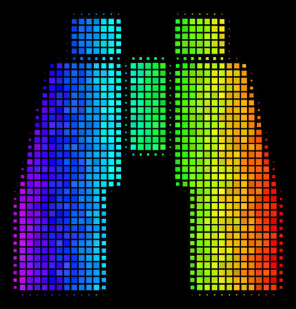 Pixel colorful halftone find binoculars icon drawn with rainbow color tones with horizontal gradient on a black background.