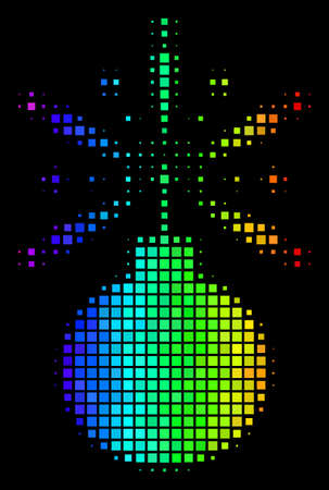 Dotted impressive halftone fireworks detonator icon using spectrum color tinges with horizontal gradient on a black background.