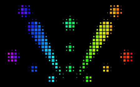 Dotted impressive halftone fireworks explosion icon in rainbow color tints with horizontal gradient on a black background.