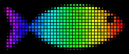 Pixelated impressive halftone fish icon drawn with rainbow color variations with horizontal gradient on a black background. 일러스트