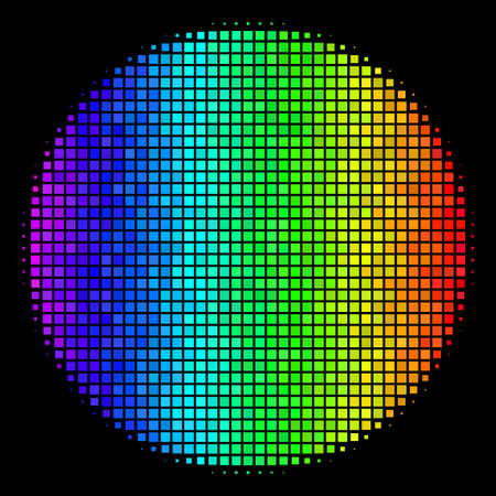 Pixel impressive halftone filled circle icon in spectral color tones with horizontal gradient on a black background. Bright vector collage of filled circle symbol made with rectangular points.