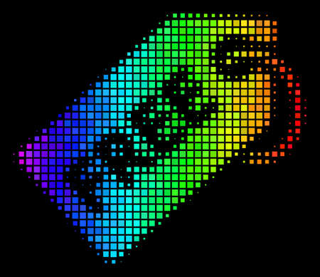 Pixel bright halftone free tag icon using rainbow color tints with horizontal gradient on a black background. Colorful vector mosaic of free tag pictogram designed from rectangle dots.