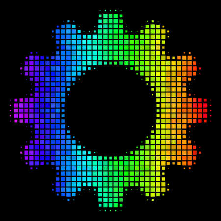 Pixel bright halftone gear icon using spectrum color variations with horizontal gradient on a black background. Bright vector pattern of gear pictogram formed with square pixels. Illustration