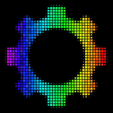Pixel colorful halftone gear icon in spectral color tints with horizontal gradient on a black background. Multicolored vector pattern of gear illustration formed from rectangular elements.