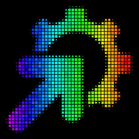 Dotted impressive halftone gear integration icon using rainbow color tinges with horizontal gradient on a black background.