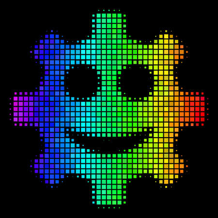 Pixel colorful halftone gear smile smiley icon drawn with spectrum color shades with horizontal gradient on a black background. Ilustração