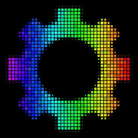 Dotted impressive halftone gear icon using rainbow color variations with horizontal gradient on a black background. Colorful vector collage of gear illustration made of rectangular items.