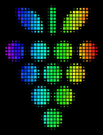 Dotted colorful halftone grapes icon in spectral color tones with horizontal gradient on a black background. Bright vector concept of grapes symbol shaped from square matrix cells.  イラスト・ベクター素材