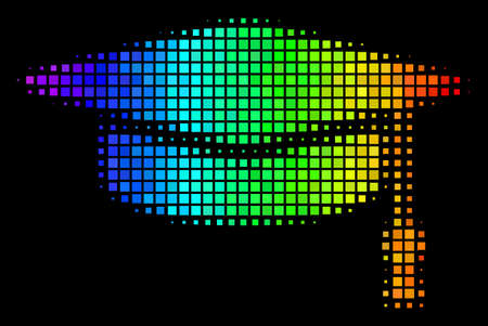 Dot colorful halftone graduation cap icon in spectral color tones with horizontal gradient on a black background. Colorful vector mosaic of graduation cap symbol created from rectangular particles. Illustration