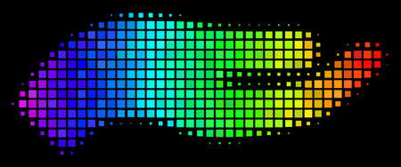 Dot bright halftone hand icon in spectrum color tinges with horizontal gradient on a black background. Colorful vector pattern of hand illustration designed from square matrix cells.