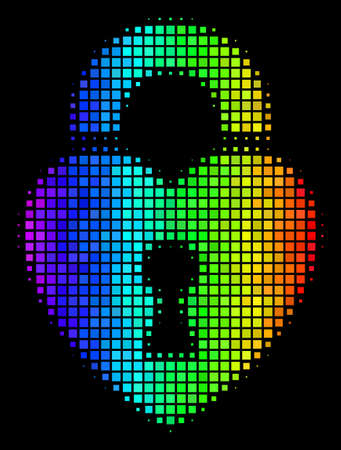 Pixel bright halftone heart lock icon drawn with rainbow color tints with horizontal gradient on a black background. Colorful vector composition of heart lock symbol created from rectangular dots. Illustration