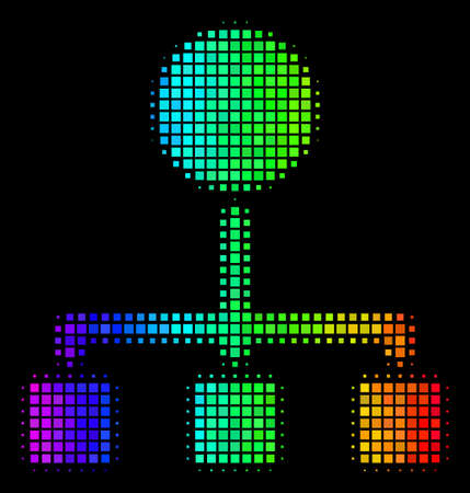 Pixelated colorful halftone hierarchy icon drawn with rainbow color tones with horizontal gradient on a black background. Color vector collage of hierarchy pictogram designed from square points.