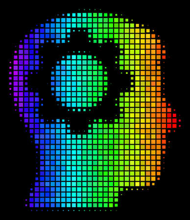 Pixelated impressive halftone intellect gear icon in spectral color shades with horizontal gradient on a black background.