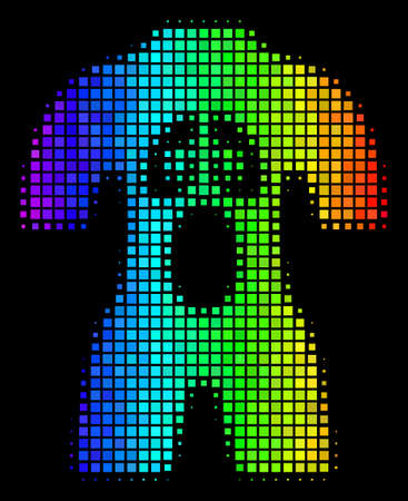 Dot colorful halftone human anatomy icon drawn with spectral color variations with horizontal gradient on a black background.
