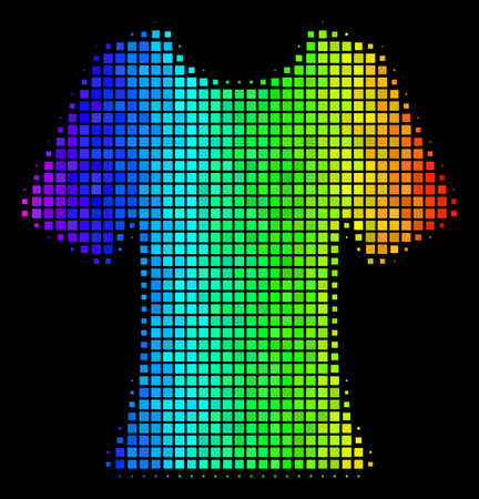 Dotted impressive halftone lady T-shirt icon using rainbow color hues with horizontal gradient on a black background. Color vector collage of lady T-shirt pictogram shaped from rectangular points.