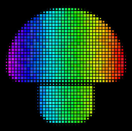Dotted impressive halftone mushroom icon in rainbow color hues with horizontal gradient on a black background. Colored vector concept of mushroom illustration formed of rectangular matrix cells.